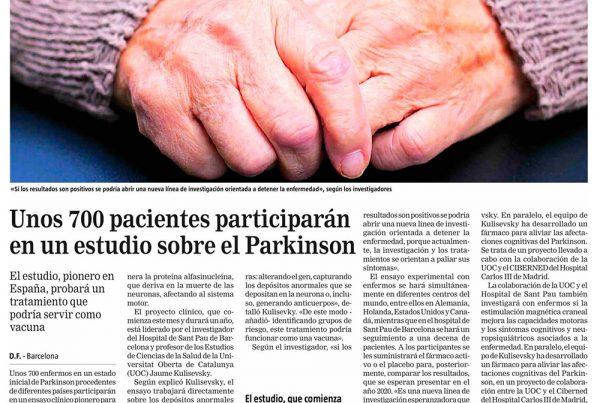 LA RAZÓN (Cataluña) - Unos 700 pacientes participarán en un estudio sobre el Parkinson